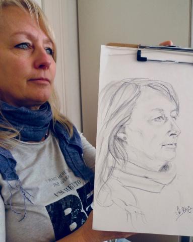 Eventzeichnen-Portraitzeichnung im Café
